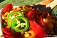 Corn salad with smoked paprika, jalapenos, red onions, and bell peppers.